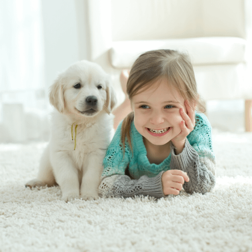 Young girls and her puppy playing on a clean rug